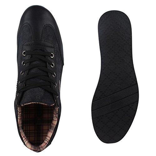Stiefelparadies Herren Sneakers Gesteppt Denim Sportschuhe Sneaker Low Turnschuhe Schnürer Freizeit Schuhe Leder-Optik Flandell Schwarz Agueda
