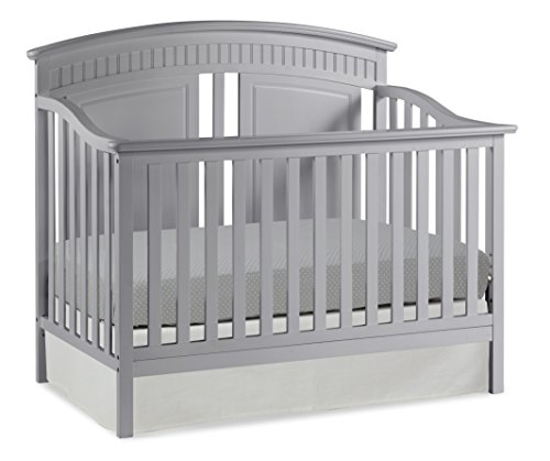 Thomasville Kids Majestic 4-in-1 Convertible Crib, Pebble Gray, Easily Converts to Toddler Bed Day Bed or Full Bed, Three Position Adjustable Height Mattress, Assembly Required (Mattress Not Included)
