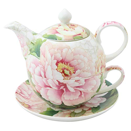 Grace Teaware Porcelain 4-Piece Tea For One (Golden Empire Pink - Peony China Pink