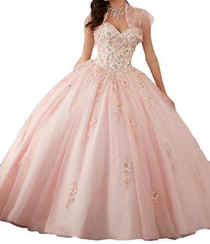 DKBridal Women's Sweetheart Embroidery Quinceanera Dresses Appliques Sweet 16 Ball Gown Pink ()