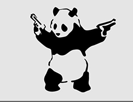 Gangster shooting panda banksy decal vinyl stickercars trucks walls laptopblack5 5