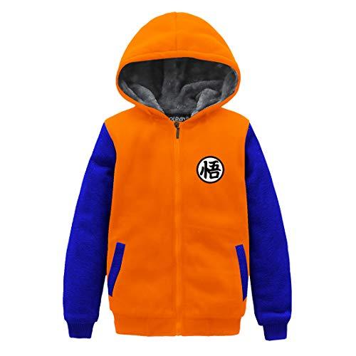 HOLRAN Anime Dragon Ball Z Son Goku Thicken Jacket Fleece Winter Hoodie for Kids (Boy-L, Orange2) ()