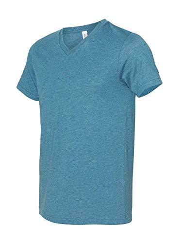 Bella + Canvas - Unisex Short Sleeve V-Neck Jersey Tee - 3005 - S - Heather Deep Teal