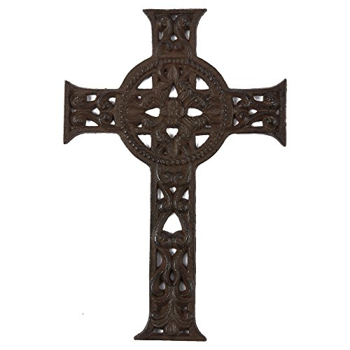 Juvale Wrought Iron Cross Decoration - Rustic Celtic Cross, Metal Cross for Christian and Religious Art Lovers, Dark Bronze, 11.5 x 7.7 x 0.5 Inches