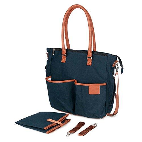 Diaper Bag - Navy Blue with Tan trim, quality Cotton Canvas