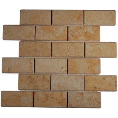 Jerusalem Gold 2x4 Beveled Edge Brick (Sold by:SHEET) 2X4BEVJGLD (Jerusalem Tile)