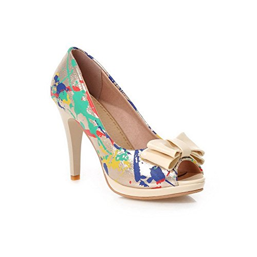 AllhqFashion Women's Soft Material Peep Toe High-Heels Pull-on Assorted Color Sandals Beige Rz9mjyj