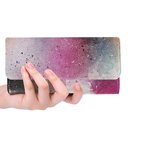 Unique Custom Art Abstract Watercolor Vintage Women Trifold Wallet Long Purse Credit Card Holder Case Handbag