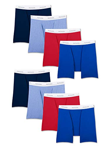 Fruit of the Loom Men's Active Cotton Blend Lightweight Boxer Briefs, Assorted Colors (8 Pack), Large