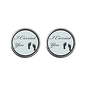 Chicforest Silver Plated i Carried YouFeet Photo Stud Earrings 10mm Diameter Photo