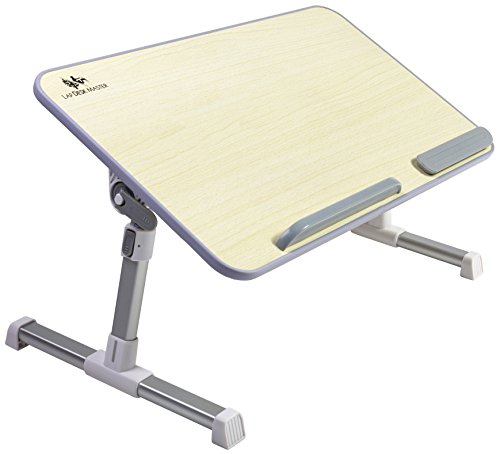 Adjustable Laptop Table by Lap Desk Master – Multifunctional Bed Tray – Changeable Height & Angle Notebook Stand – Ideal as Portable Standing Bed Desk & Breakfast Tray – Sturdy Build and Folds Flat