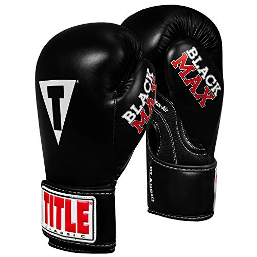 Title Classic Black Max Boxing Gloves, Black, 12 oz