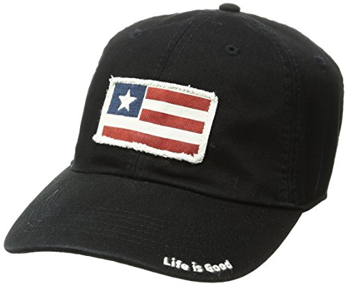 Applique Flag Stripes (Life is Good Tatte Chill Three Stripe Flag Hat, Night Black, One Size)