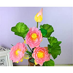 baisheng Artificial Flowers Lotus Silk Flower Party Festival Xmas Bouquets Home Wedding Decoration(4 Bunch-Light Pink) 95