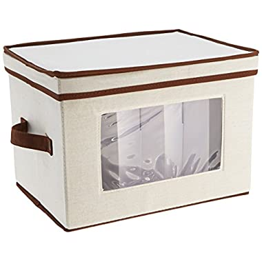 Household Essentials 530 Dinnerware Storage Chest for Saucers, Tan, 7.5  x 8  x 8