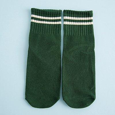 Maivasyy 5 paires de chaussettes deux barres de couleur frappé Talon brodé couleur solide fourreau rétro Coton Chaussettes Chaussettes Couple Pile court pour hommes et femmes, vert