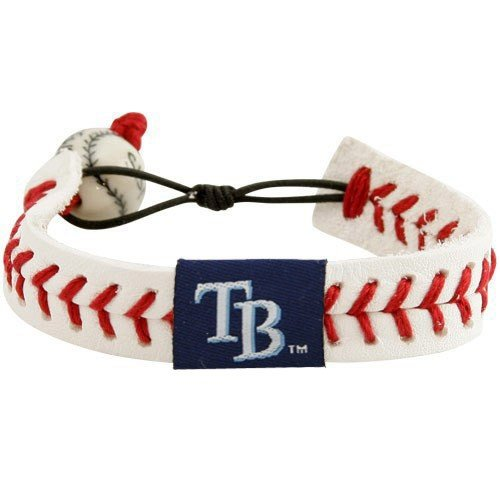 (MLB Tampa Bay Rays White Leather Baseball Seam Bracelet)