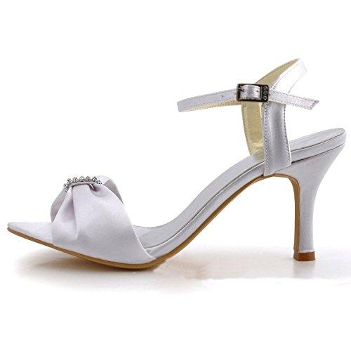 Bowknot High Toe Slingback Heel Shoes Bridal Wedding Satin Minitoo white Open 9cm GYMZ653 Womens Heel wAaWcqZT