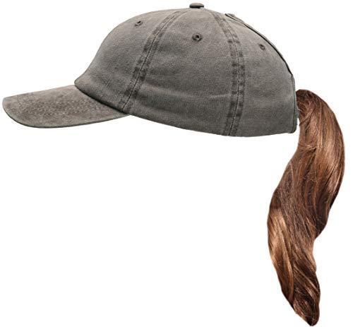 Beurlike Ponytail Baseball Cap High Bun Ponycap Adjustable Mesh Trucker Hats (Washed Cotton - - Trucker Adjustable Mesh Hat