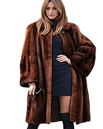 Aox Womens Winter Faux Fur Coat Warm Thick Plus Size