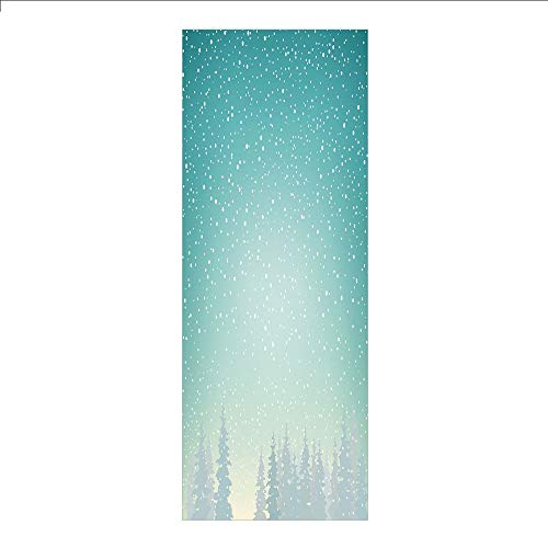 3D Decorative Film Privacy Window Film No Glue,Winter,Snow Falls on The Spruce Forest Fir Trees Seasonal Nature Woods ICY Cold Xmas Time Decorative,for Home&Office
