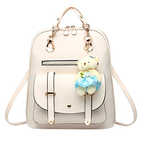 Bag Leather Large Backpack Capacity white with Classic Strap Women Shoulder Color and for Girl creamy Bag Adjustable Student Travel Solid Shoulder vd00Snp