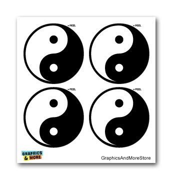 Yin and Yang Asian Chinese Symbol - Set of 4 - Window Bumper Laptop Stickers (Asian Decal Set)