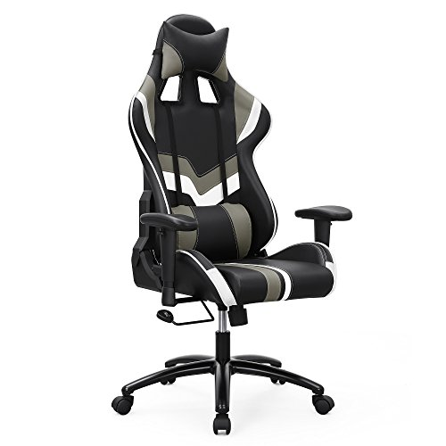 SONGMICS Gaming Chair Swivel Office Chair with High Back, Molding Foam Padded Cushion, Adjustable Headrest and Lumbar Support/ for Home or Office Desk Black and White URCG27BW