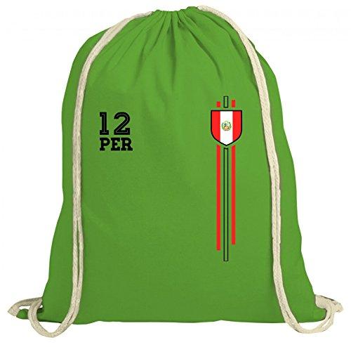 ShirtStreet Soccer World Cup Fussball WM Fanfest Gruppen natur Turnbeutel Rucksack Gymsac Streifen Trikot Peru Grün Natur WGnvy