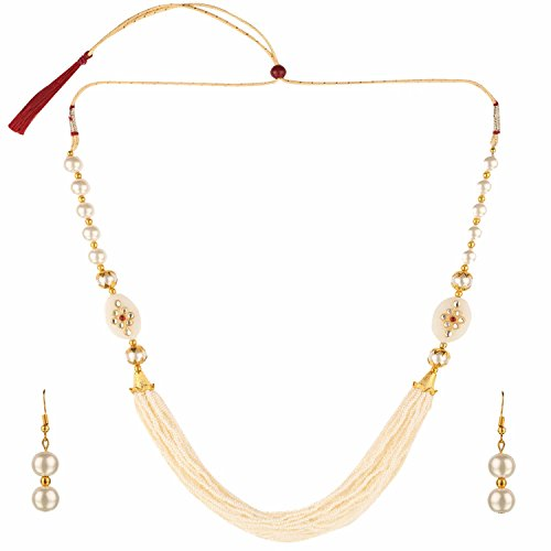 Efulgenz Indian Handcrafted Traditional Designer Simulated Pearl Beaded Multi Stranded Necklace with Dangler Earrings Bollywood Jewelry Sets for Women and Girls (White)