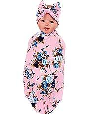 Baby Swaddle Blanket Floral Cotton Newborn Baby Girl Sleeping Swaddle Muslin Wrap Headband