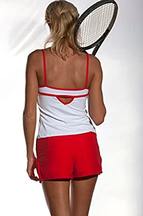 The Red Carpet: Performance Tennis Short: Red with Ball Girl Function