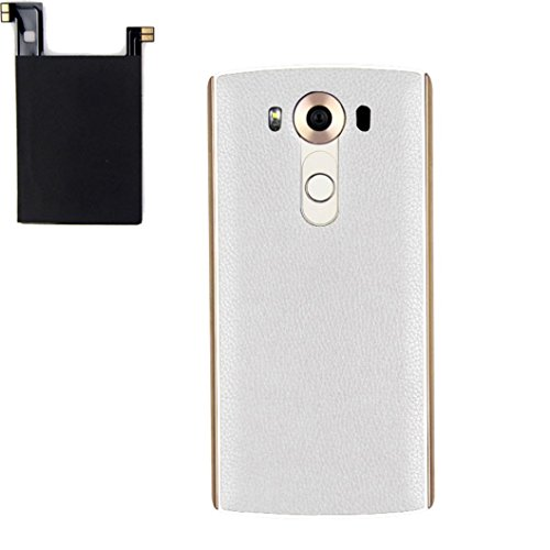 For LG V10, Mchoice Genuine Leather Qi Wireless Charger ChargingCase Battery Back+Receiver Sticker Support NFC for LG V10 (White)