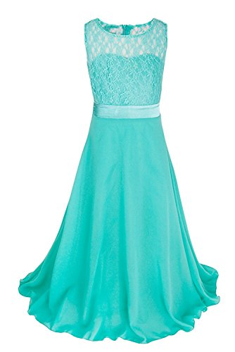 Bridesmaid Gowns Chiffon - Big Girls Lace Chiffon Bridesmaid Dress Dance Ball Party Maxi Gown (16, Turquoise)