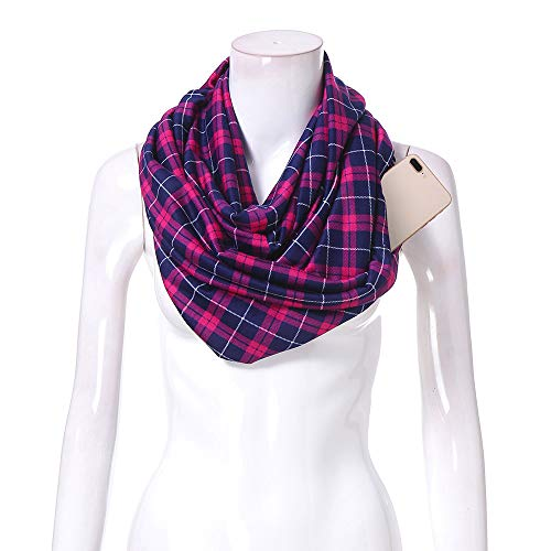 Women Infinity Scarf Soft Print Shawl Wrap Loop Scarf with White Zipper Pocket, Infinity Scarves (Multicolor -A, Free Size) by Appoi Scarf (Image #5)