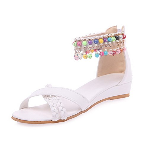 VogueZone009 Women's Soft Material Zipper Open Toe Low-Heels Solid Wedges-Sandals White 3DJzIQ