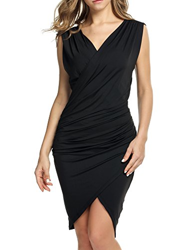 ANGVNS Women Sleeveless V Neck Bodycon Party Pencil Dress (S, Black)