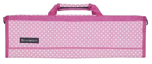 (Messermeister 8-Pocket Padded Knife Roll, Pink with White Dots)