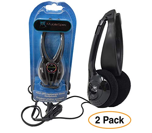 Folding Headphones Black | Lightweight Stereo On-Ear Foldable Earphones w/Volume Control (2 Pack)