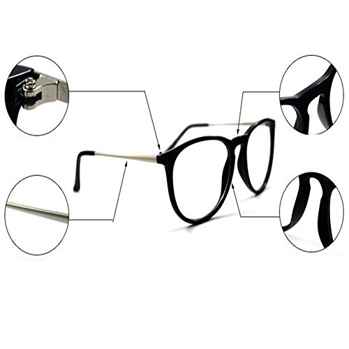 Deylaying Gafas Redondo Mujer Retro Lente Sobredimensionado Negro Mate Gafas Hombre Marco Transparente UV400 66rOxCqwn