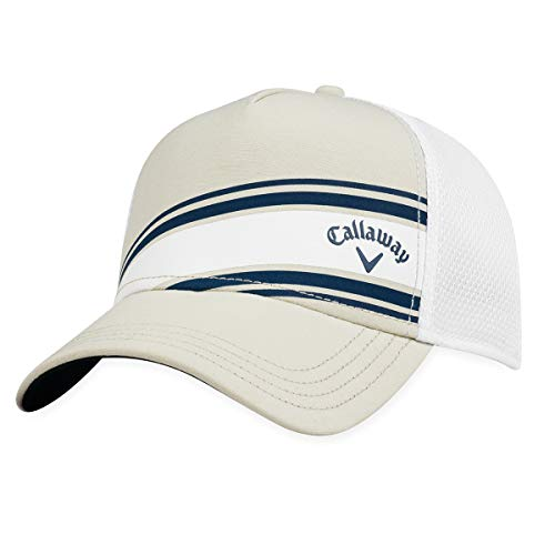 Callaway Golf 2018 Stripe Mesh Adjustable Hat, Khaki/ White