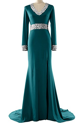 Mother Dress Sleeve Long of Evening Formal Bride Women Neck the Gown V Teal MACloth t0Rnpqxw5