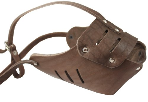 Real Leather Cage Basket Secure Dog Muzzle #131 Brown - Great Dane, Saint Bernard, Mastiff(Circumference 15