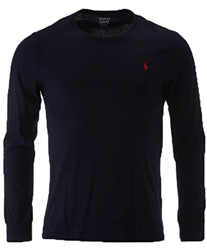 Polo Ralph Lauren Men Long Sleeve Crewneck Pony Logo T-Shirt (X-Large, Navy/Red Pony) Boys Ralph Lauren Button