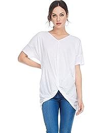 D Womens Oversized Cotton Slub Frnt Knot Tshirt Blouse Top