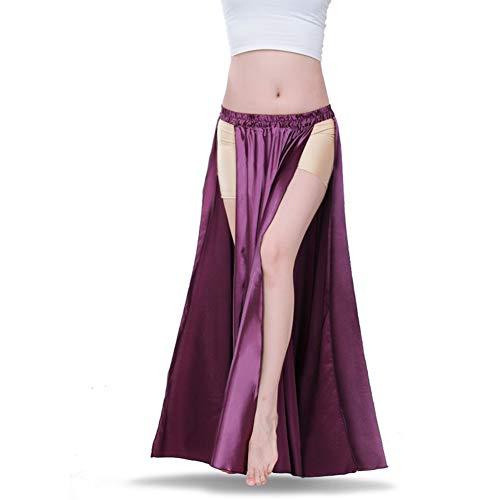 ROYAL SMEELA Belly Dance Skirt Tribal Two Side Slit Skirt Belly Dance Costume for Women Maxi Skirt Satin Dancing Skirts -