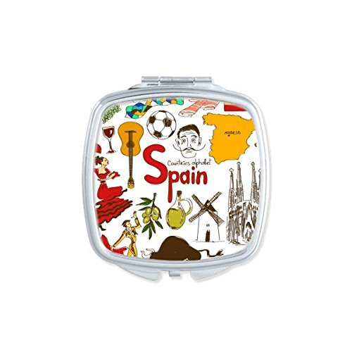 Spain Landscape Customs Landmark Animals National Flag Resident Diet Illustration Pattern Square Compact Makeup Pocket Mirror Portable Cute Small Hand Mirrors by DIYthinker