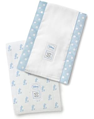 SwaddleDesigns Baby Burpies, Set of 2 Cotton Burp Cloths, Pastel Blue Disney Little Mickey!