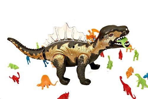 Spinosaurus Best Dinosaur Toy Figures Bundle for Kids!! 33 Pcs. Dinosaur Set. - Predator Vs. Prey Life-Like and Educational Dinosaurs. for Boys and Girls. LED- Lights UP, Walks and Roars!!!! by SavvyStreet Kids