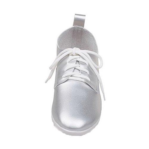 AgooLar Damen PU Schließen Zehe Niedriger Absatz Schnüren Pumps Schuhe Silber